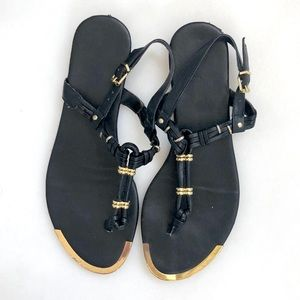 Dolce Vita Black Leather and Gold Hardware Sandals